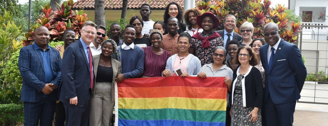 The U.S. Embassy in Angola commemorated Pride Month with the raising of the pride flag.